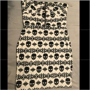 Strapless skull mini dress